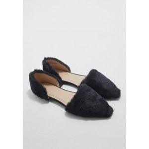Topshop Fuzzy Fur Pointy Toe Open D'Orsay Flats